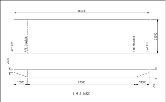 Fig 01 - Simple Barge GA: Simple GA of a barge with swim ends for Tutorial on creating a simple model.